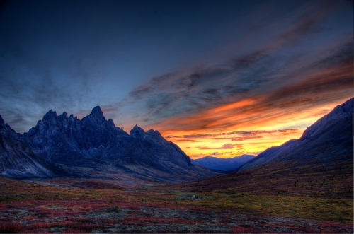 Sunset over Tombstone Mountain